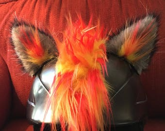 Wolf on Fire,Wolf Ears and Mohawk the Big Bad Wolf or Wear Wolf for Helmets.by feistyfurs