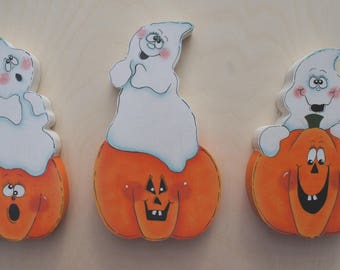 Set of 3 Pumpkin and Ghost Shelf Sitters - Halloween, Fall, Autumn Wood Mantle Decoration