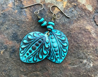 Turquoise and Patina Earrings