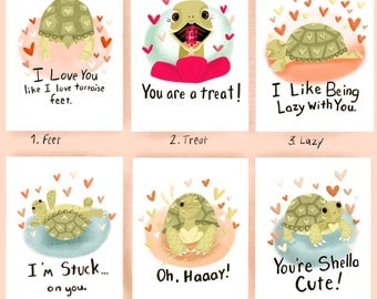 DOGITAL DOWNLOAD Six Pack Tortoise Valentines Cards