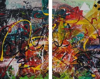 "Two Piece Abstract Acrylic Painting 36x24"" (Two 18x24"" pieces) - ""Chaos"""