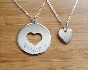Duo set 2 necklaces 1 medal 22 mm 1 heart 10 mm silver with engraving of your choice