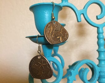 Coin Guitar Pick Earrings