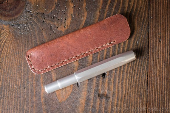 Kaweco Sport pen sleeve - hand stitched Horween leather - cognac