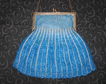 Micro Beaded Purse / ANTIQUE Victorian Micro Bead Bag Purse Handbag-Embossed Frame / Vintage Handbag