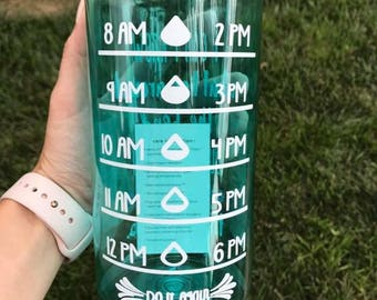 Personalized 34 ounce water bottle with times
