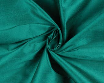 Teal Shiny Shantung Satin Fabric by the Yard, DIY Crafts, Decorations, Apparel - 1 Yard Style 3008