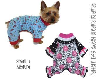 Sweet Dreams Dog Pajama Pattern 1749 * Small & Medium * Dog Clothes Sewing Pattern * Dog Onesie Pattern * Dog PJs * Dog Attire * Pet Clothes