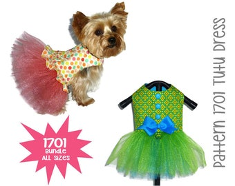 Tutu Dog Dress Pattern 1701 * Bundle All Sizes * Dog Clothes Pattern * Dog Harness Dress * Dog Apparel * Dog Outfit * Girl Dog Clothes