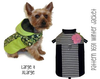 Winter Dog Jacket Pattern 1691 * Large & XLarge * Dog Clothes Sewing Pattern * Dog Coat Pattern * Dog Apparel * Designer Dog Clothes