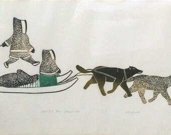 Inuit Lithograph, Kenojuak  Ashevak, large Inuit litho.