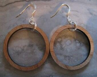 Medium Cherry Wood Circle Hoop Earrings Silver Ear Wires Joanna Gaines Inspired Hoops Toniraecreations