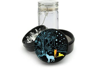 Wild Wolf at Night UV print on the Grinder FREE Glass included! 4 Piece Herb Aluminum Black cnc Grinder 0285
