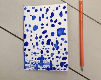Pocket mini notebook blue paint pattern - A6 notebook