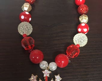 Red Princess Crown Bubblegum Necklace