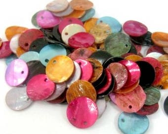 Set of 50 multicolored sequins in mother-of-Pearl, 13mm