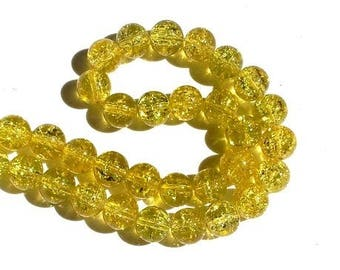LAST SET! 20 yellow beads, Crackle Glass 10mm