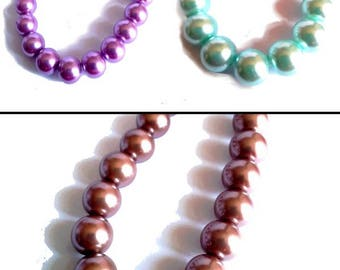 10 pearls 12mm glass, color choice