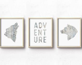 Nursery Art PRINTABLE - Set of Three - Adventure - Woodland Animals - Birch - Blue Beige - Earthy Rustic - Nursery Decor - Neutral Nursery
