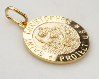 Gold Plated Saint St Christopher Medal Pendant  3D Style -Travellers Prayer or OWN Back Personalised Engraving 2 Sizes - 16th 18th 21st Gift