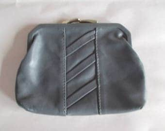 Vintage  Gray Leather Coin Holder