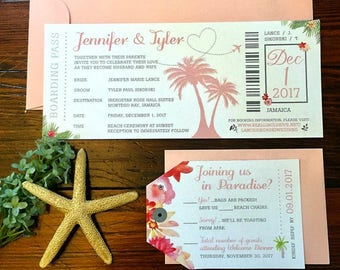 Tropical Watercolor Destination Wedding Invitation Package | Plane Ticket Boarding Pass Invite, RSVP Luggage Tag | Tropical Island Beach