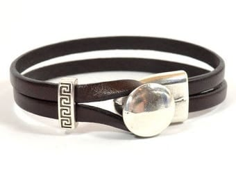 10% Off Chocolate Brown Double Strand Leather Bracelet with One-Piece Antique Silver Button Clasp (5-516)