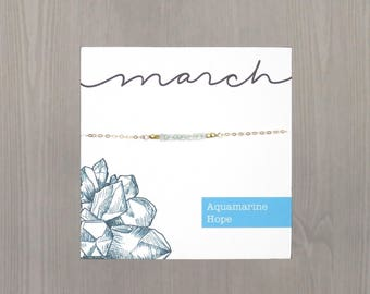 Aquamarine Necklace, March Birthstone Necklace, Aquamarine Bar Necklace, Aquamarine Gold Necklace, March Birthday, Gold Aquamarine Necklace