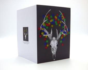 Stag Skull, Deer Skull, Gothic Christmas Cards,