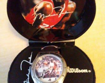 Michael Jordan #23 collectible watch in basketball holder