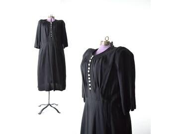 1930s dress, 1930s dress, 48in Bust, Plus Size Vintage Dress, Black Dress, Vintage Clothing, Vintage Dress, 1940s dress, 40s dress