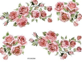 VinTaGe XL PeaCH CaBbaGe RoSeS & BouQueTs ShaBby DeCALs ~FuRNiTuRe SiZe~