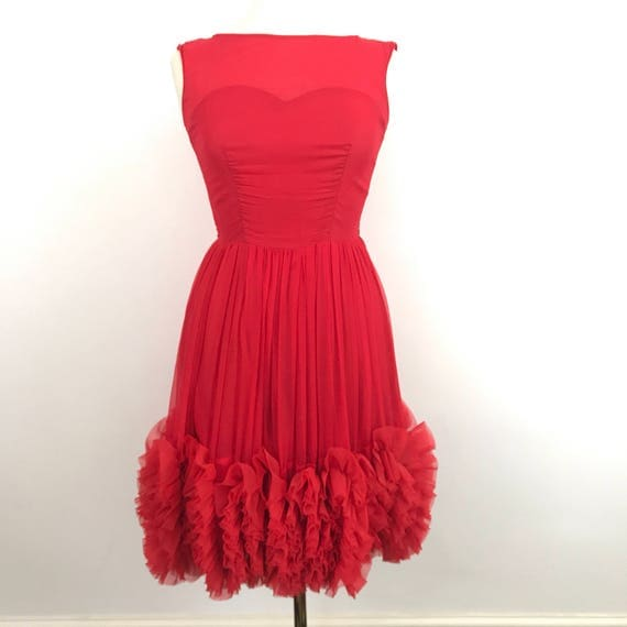 1950s dress vintage dress red chiffon prom frilly frou frou UK 12 full flared skirt 50s pin up burlesque scarlet
