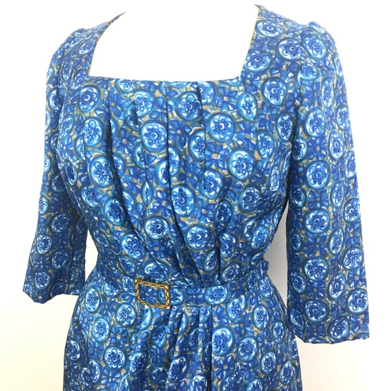 Vintage blue dress 1960s floral late 50s early 60s shift bold print Scooter girl wedding bridesmaid guest UK 14 mother of bride