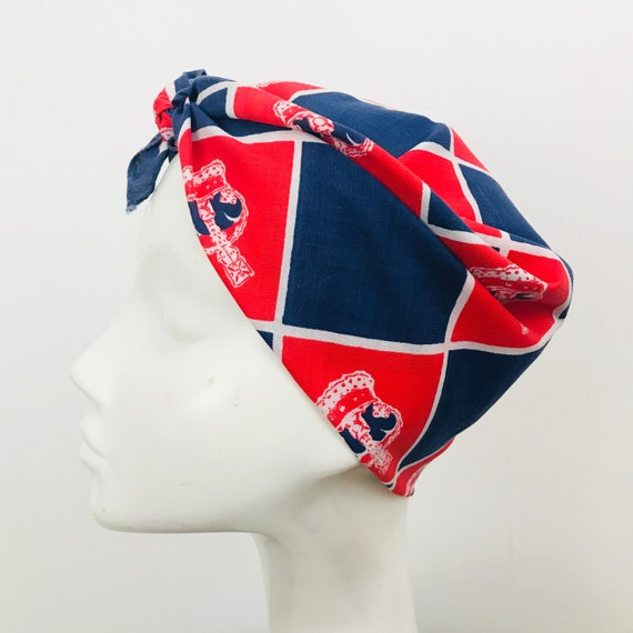 Vintage checkered scarf cotton scarf square red white blue crown coronation rockabilly headscarf turban scooter girl 40s 60s 70s