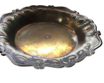 Vintage Decorative Brass Dish, vintage brass tray, Patina brass