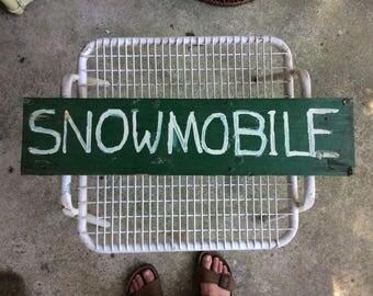 "Vintage Handpainted ""Snowmobile"" Sign, 23.5"""