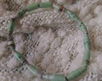 Handmade Paper Bead Mint Green Bracelet - Stretch Bracelet