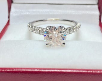 GIA Certified TDW 2.01CT Engagement Ring l 14KT White Gold Diamond Ring l Engagement Ring l Solitaire Ring