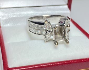 Antique Engagement Ring Setting, 18KT White Gold Diamond Semi Mount Engagement Ring, Wedding Ring, Wedding Jewelry