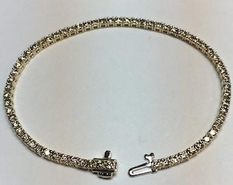 Diamond Tennis Bracelet l 14KT Yellow Gold Diamond Bracelet l Vintage Gold Bracelet