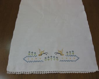 Cotton Embroidered Dish Towel, Vintage Embroidered Tea Towel, Butterflies Towel, Crocheted Trim