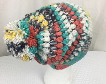 Crochet Puff Stitch Beanie, Baby, Child, Adult Size Slouch Beanie- Hat, Ski, Painted Canyon
