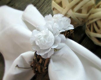Wedding Napkin Rings, White Rose Napkin Rings, Flower Napkin Rings, Rustic Napkin Ring, Country Farm Woodland Wedding Decor Table Decoration