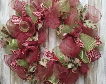 Burgundy and green christmas wreath