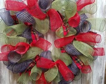 Navy plaid christmas wreath