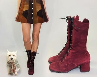 JULY FLASH SALE Vintage Deadstock Penny Lane Ruby Purple Red Lace Up Grommet Suede Bohemian Witchy Boots || Size 5.5