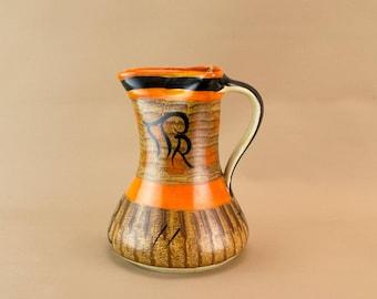Brown Orange Ceramic Water Jug Myott Mid Century Modern Vintage 1940s