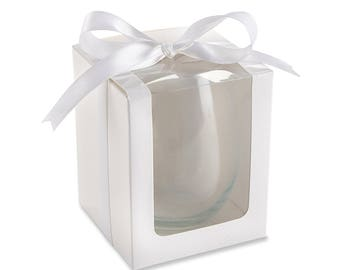 12 White 15 oz. Stemless Wine Glass Gift Boxes and Ribbon Bow Party Favor Boxes