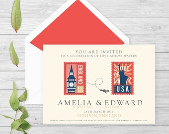 Personalised travel wedding invitation |Save the date | travel theme | long distance love | personalised gift | wedding stationery | custom